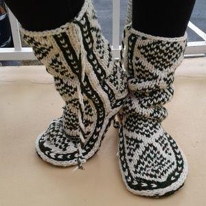 Leather bottom Mukluk style slippers